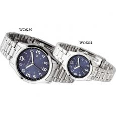 Fashion Accessories - Men's -  Watch with silver finish, blue sunray dial and date display