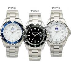 Fashion Accessories - Men's -  Watch with silver finish, black face and magnified date display