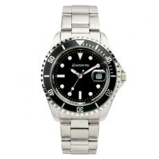 Fashion Accessories - Ladies' -  Watch with silver finish, black face and magnified date display