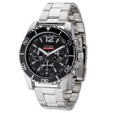 Fashion Accessories - Unisex chronograph watch with polished silver metal case
