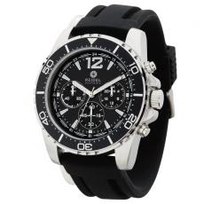 Fashion Accessories - Unisex chronograph watch with brushed silver metal case