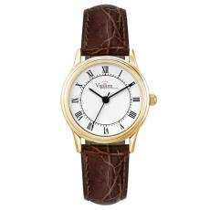 Fashion Accessories - Ladies' -  Crocodile grain leather strap watch and polished gold finish