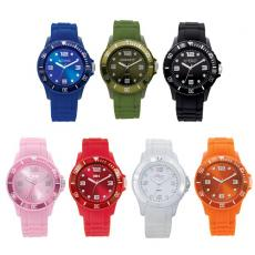Fashion Accessories - Unisex watch with rubber strap in cool colors, coordinating bezel