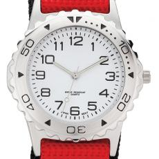 Fashion Accessories - Watch with 37 mm brushed metal case and nylon hook and loop straps