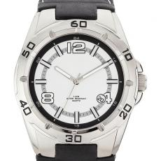 Fashion Accessories - Unisex style watch with brushed silver metal case, date display and leather straps