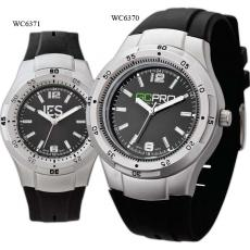 Fashion Accessories - Men's -  Cool black watch with silver finish, rubber strap and water resistant to 3 ATM