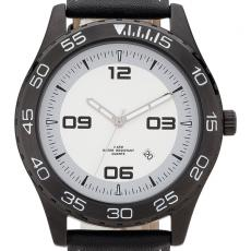 Fashion Accessories - Watch with 44 mm matte black metal case with natural leather straps