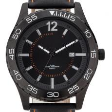 Fashion Accessories - Watch with 44 mm matte black metal case, date display and natural leather straps