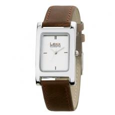 Fashion Accessories - Men's 25mm -  Watch with rectangular and polished silver metal case