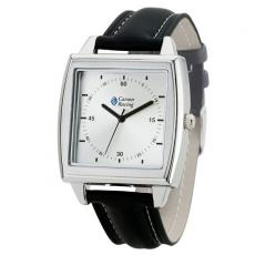 Fashion Accessories - Casual elegance unisex square case watch with 39mm brushed silver metal case