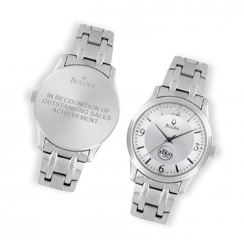 Bulova Round Silver Tone Custom Watch