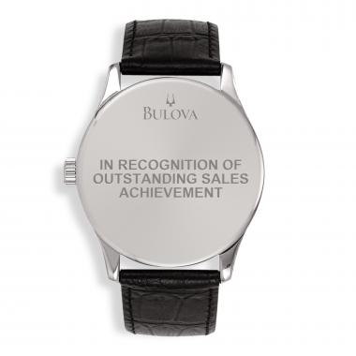 Bulova Round Stainless Steel & Leather Custom Watch
