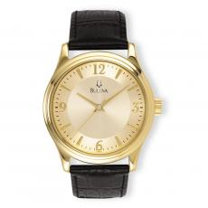 Executive Gifts - Bulova Round Gilt & Leather Custom Watch