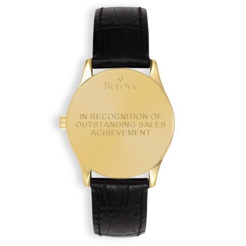 Bulova Round Gilt & Leather Custom Watch