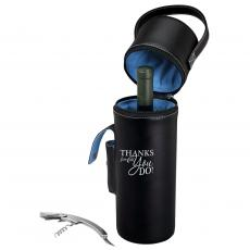 Executive Gifts - Thanks For All You Do Wine Carrier with Corkscrew