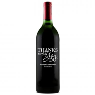 Thanks for All You Do - Personalized Bottle of Wine