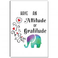 Motivational Posters - Attitude of Gratitude Elephant Inspirational Art