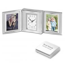 Desk Accessories - Silver Tri Fold Clock and Frame