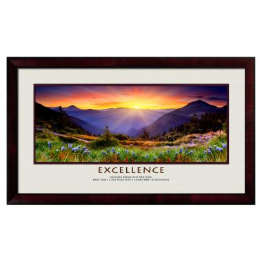 Excellence Sunrise Mountain Motivational Poster