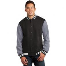 Outerwear - Sport-Tek<sup>®</sup> - 4XL -  Fleece letterman jacket with snap front closure