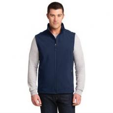 Vests General - 2XL -  Soft shell vest with reverse coil zippers, zip through cadet collar with chin guard, front zippered pockets, and open hem. Blank