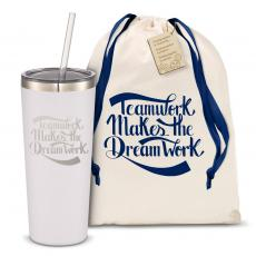 Straw Tumblers - The Joe Straw - Teamwork Dream Work 20oz. Stainless Steel Tumbler