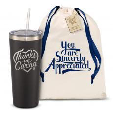 Straw Tumblers - The Joe Straw - Thanks for Caring 20oz. Stainless Steel Tumbler