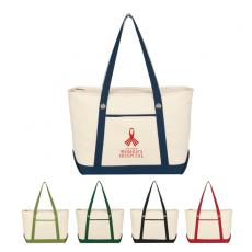 Bags & Totes - Sailing - Embroidery - Silkscreen -  Large cotton canvas sailing tote with outside pocket