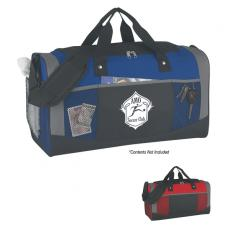 Bags & Totes - Quest - Embroidery - Silkscreen -  Polyester duffel bag with web carrying handles and adjustable shoulder strap