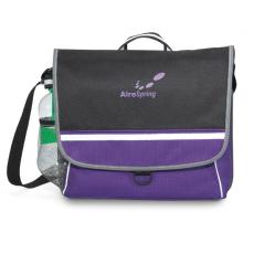 Messenger Bags - Midtown - Purple -  Polyester messenger bag with D-ring pull tab and velcro closure