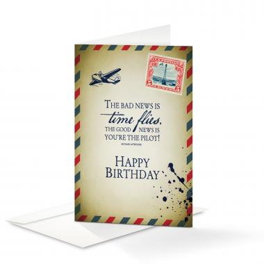 Happy Birthday Time Flies 25-Pack Note Cards