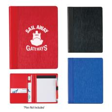 "Employee Gifts - Aluminum, 4"" x 6"" portfolio, made of PU material with aluminum front cover, includes 50 page writing pad"