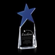 Colored Glass and Crystal Awards - Blue North Star Crystal Award