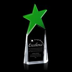 Colored Glass and Crystal Awards - Green North Star Crystal Award