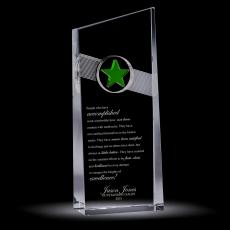 Colored Glass and Crystal Awards - Green Star Catcher Crystal Award