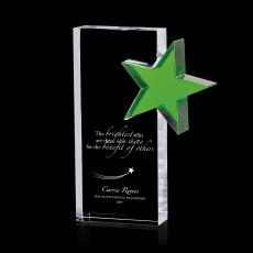 Colored Glass and Crystal Awards - Green Star Stand Out Crystal Award