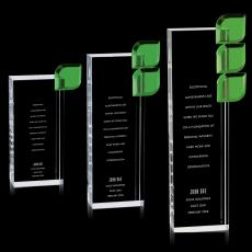 Colored Glass and Crystal Awards - Green Leaf Crystal Award
