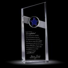 Colored Glass and Crystal Awards - Blue Star Catcher Crystal Award