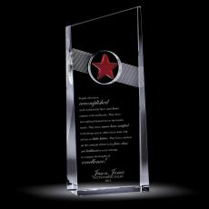 Colored Glass and Crystal Awards - Red Star Catcher Crystal Award