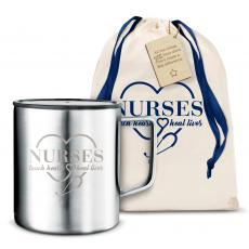 Nurses Gifts - Nurses Touch Hearts 14oz. Travel Camp Mug