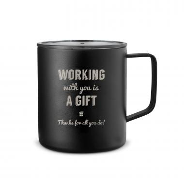 Working With You is a Gift Thanks 14oz. Travel Camp Mug