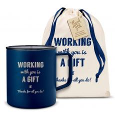 Camp Mug - Working With You is a Gift Thanks 14oz. Travel Camp Mug