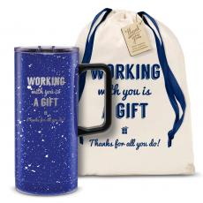 Vacuum Insulated - Working With You is a Gift Thanks 18oz. Travel Camp Mug