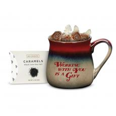 Ceramic Mugs - Working With You is a Gift Stone Mug & Caramel Gift Set