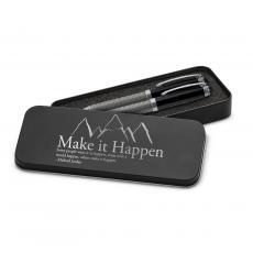 Roller Ball Pen Sets - Make It Happen Mountain Carbon Fiber Pen Set & Case