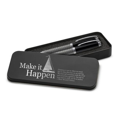 Make It Happen Sailboat Carbon Fiber Pen Set & Case