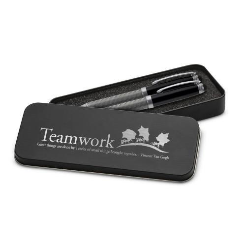 Teamwork Ants Carbon Fiber Pen Set & Case