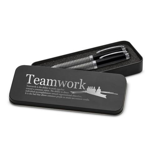 Teamwork Rowers Carbon Fiber Pen Set & Case