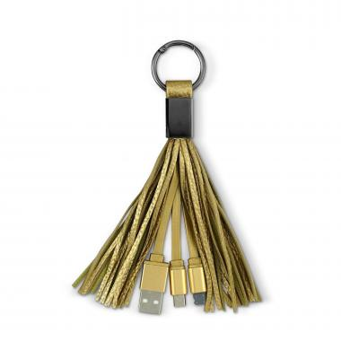 Gold 2-in-1 Tassel Charging Cable Keyring