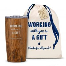 Vacuum Insulated - The Holiday Joe - Working With You is a Gift Thanks 20oz. Stainless Steel Tumbler